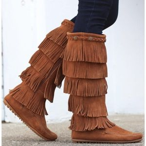 Five layer brown fringe Minnetonka suede boots